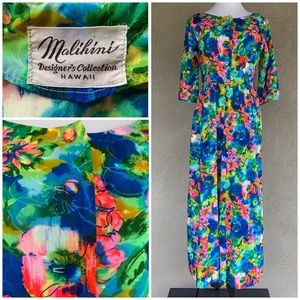 """Malihini"" Hawaiian Bright Floral Jumpsuit Vtg"